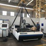 China máquina de corte de crachá de fábrica + cortador de laser de fibra trocável